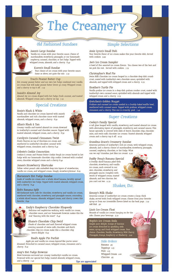Leatherbys menu